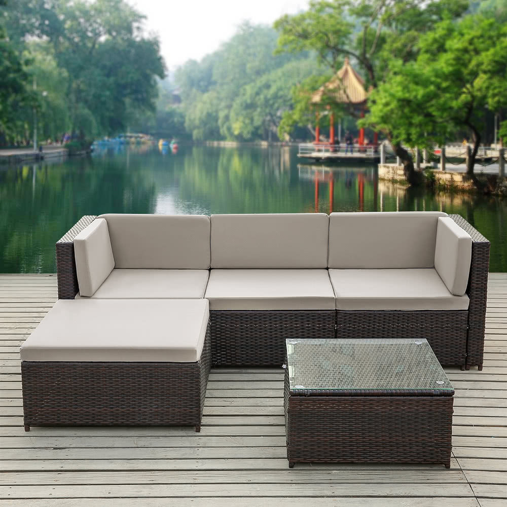 iKayaa Fashion PE Rattan Wicker Patio Garden Furniture Sofa Set W/ Cushions Outdoor Corner Sofa Couch Table Set Sales Online - Tomtop