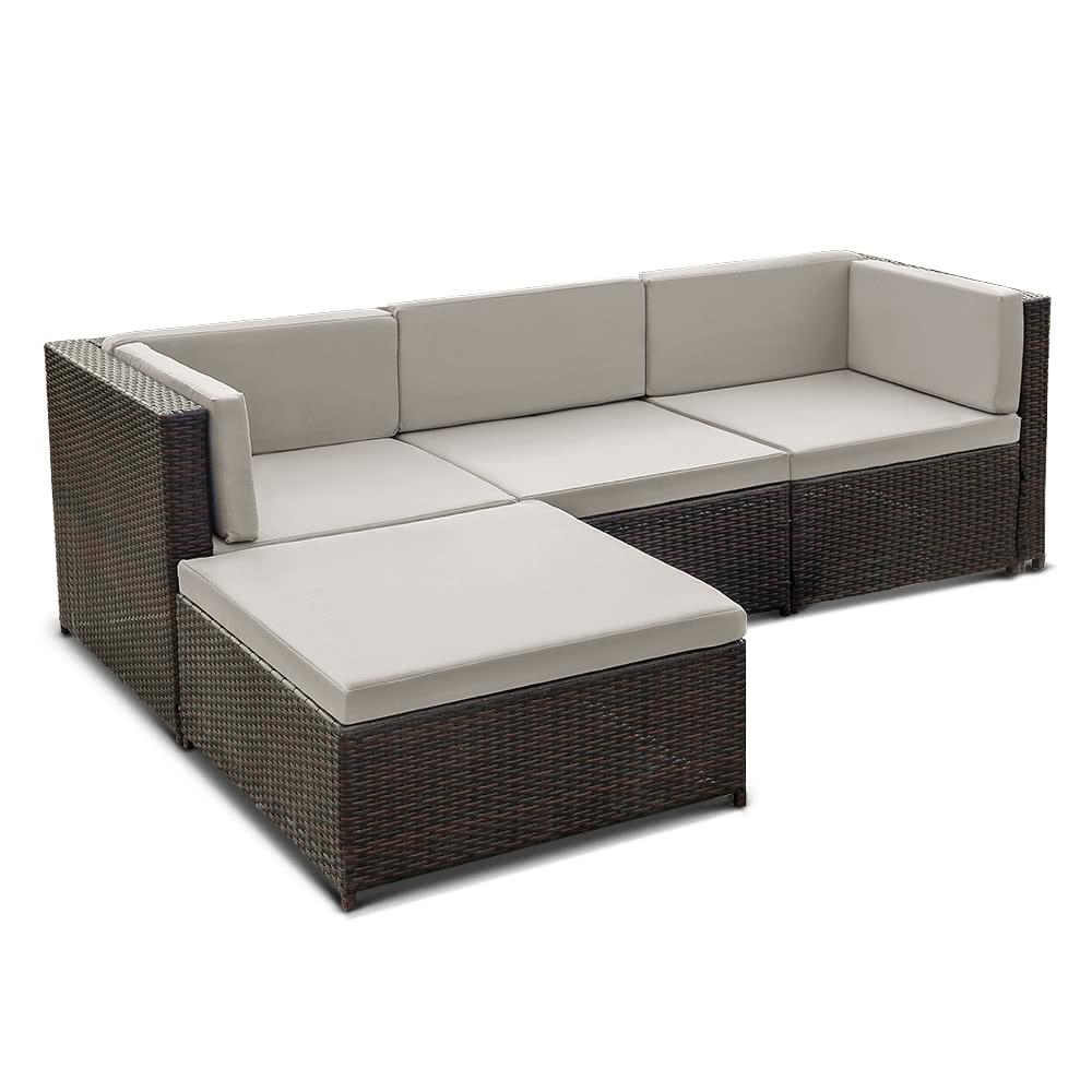 ikayaa fashion pe rattan wicker patio garden furniture sofa set w cushions outdoor corner sofa couch table set sales online gy tomtop - Rattan Garden Furniture L Shape