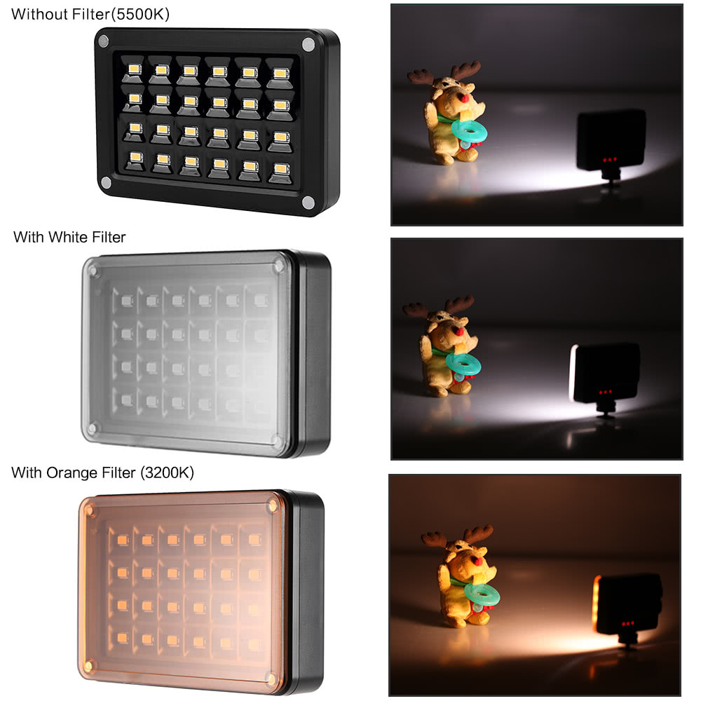 Andoer t9512 mini led vid o lampe panneau 95 5500 k couleur temp rature 24pcs leds 7 niveaux - Panneau led video ...