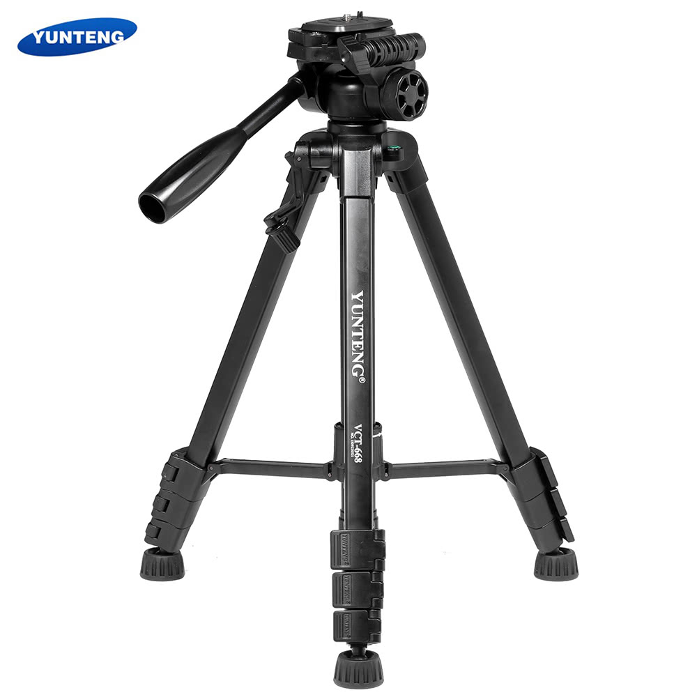 Yunteng Vct 668 Portable Video Dslr Camera Camcorder Tripod Kit With Hot Shoe Bubble Spirit Level For Nikon Canon Pentax Olympus Panasonic Double Support 360 Degree Panoramic Pan Head Quick Realease Plate Sony Sales Online Tomtop