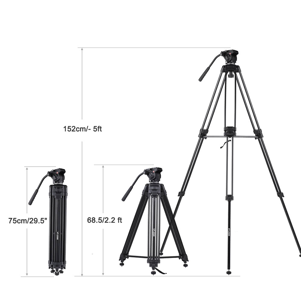kingjoy vt 5ft camera camcorder tripod with 360 u00b0 fluid damping head   stable middle