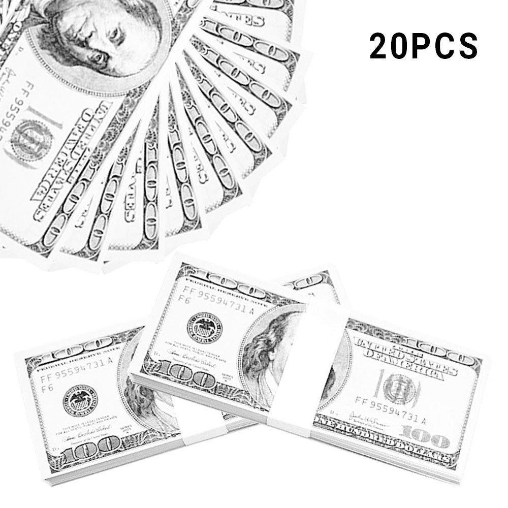 20 pcs realistic fake play money photography pounds euro notes training collect learning