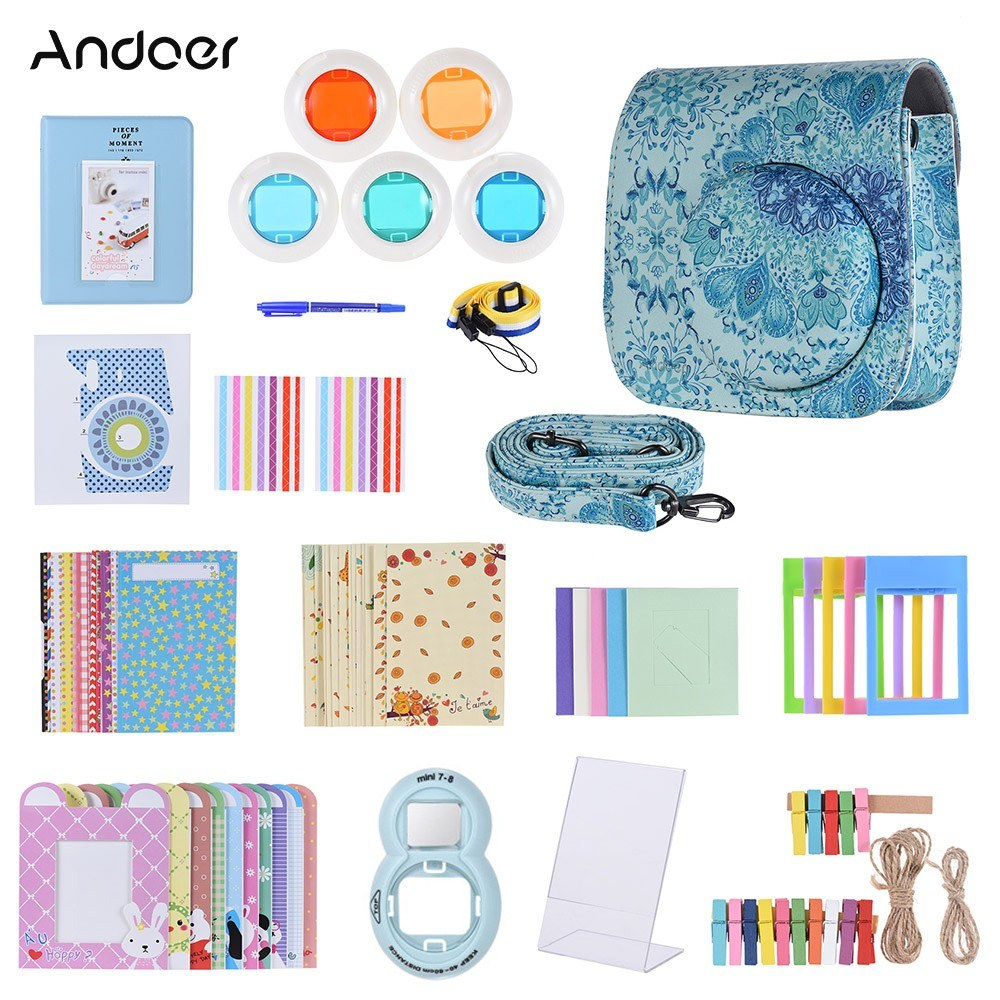 Andoer 14 in 1 Accessories Bundle for Fujifilm Instax Mini 8/8+/8s/9 with Camera Case/Strap/Sticker/Selfie Lens/Filter/Album/Photo Frame/Border Sticker/Corner Sticker/Pen, Blue