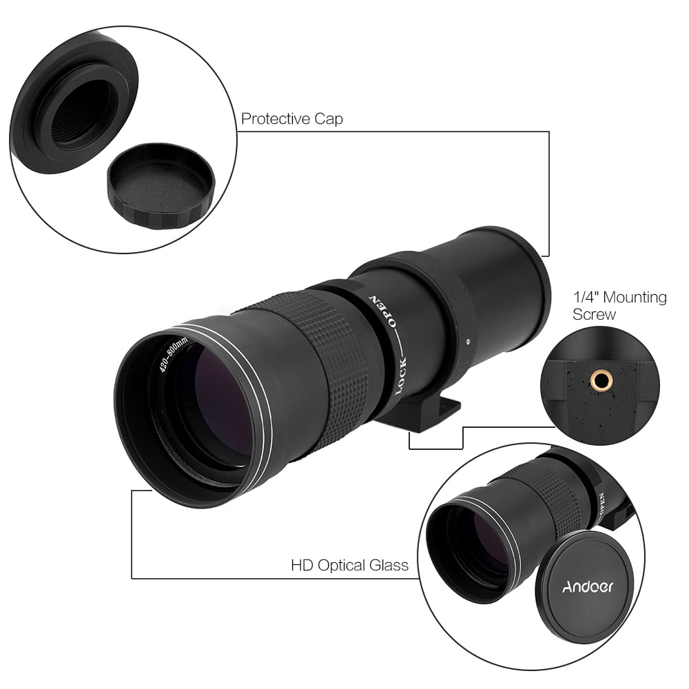 Andoer 420-800mm F/8 3-16 HD Super Telephoto Manual Zoom Lens with T-Mount  for Canon Nikon Minolta Sony Pentax Olympus DSLR Camera