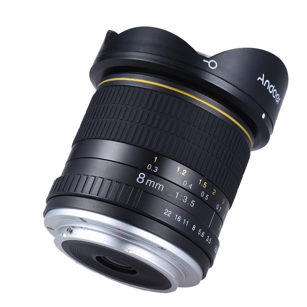 Andoer 8mm F / 3.5 170 ° Ultra Wide HD Fisheye Aspherical Rund ...