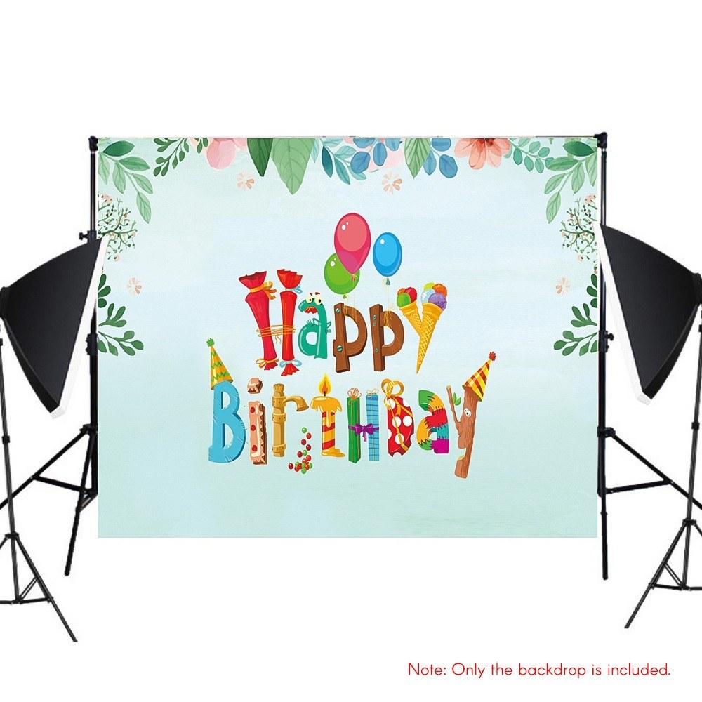 #3232 7*5ft Happy Birthday Cartoon Backdrop Baby Shower Kid Birthday Photography Background
