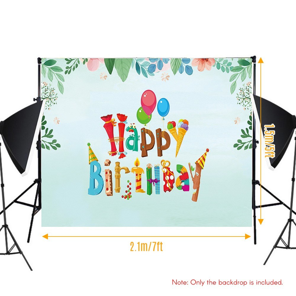 #3232 7*5ft Happy Birthday Cartoon Backdrop Baby Shower Kid Birthday Photography Background