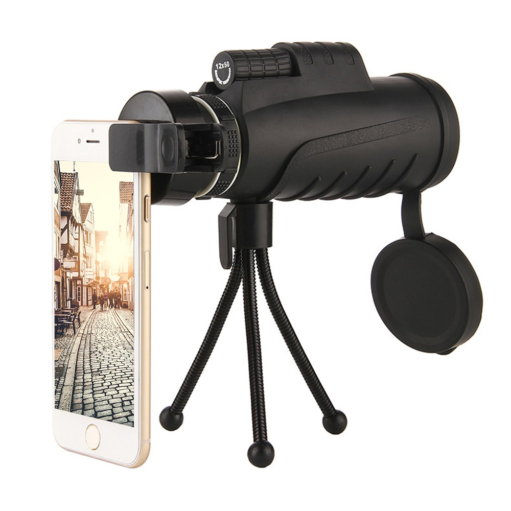 Monocular Telescope 12x50 Zoom Double Focus High Quality Super Clear for Phone Outdoor Travel Hunting Camping Trip Telescopes Sales Online black - Tomtop