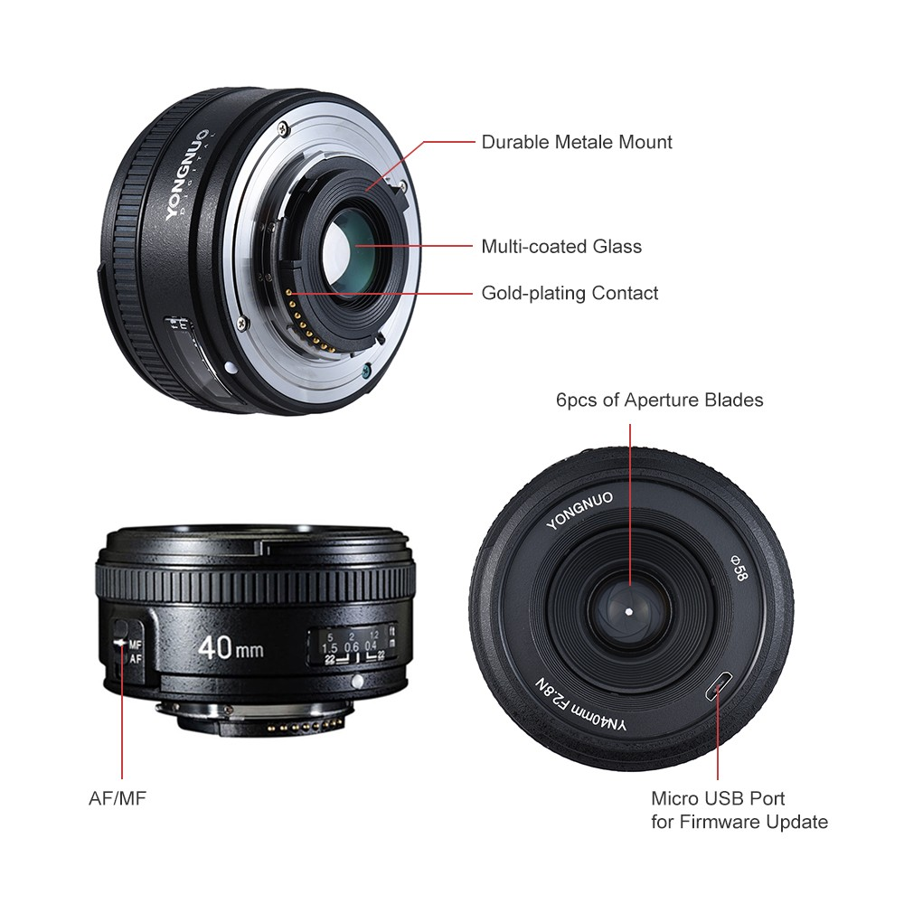 YONGNUO YN40mm F2 8N 1:2 8 Standard Fixed Prime Lens AF MF Auto Manual  Focus Light-weight for Nikon D500 D7100 D7000 D7500 D610 D800 D810 DSLR  Camera
