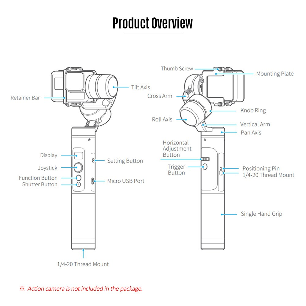 Feiyutech G6 3 Axis Stabilized Splash Proof Handheld Action Camera Gdx Intercom Wiring Diagram How To Connect Cameras Make Setting And What Does The Display Icons Mean Please Refer User Manual