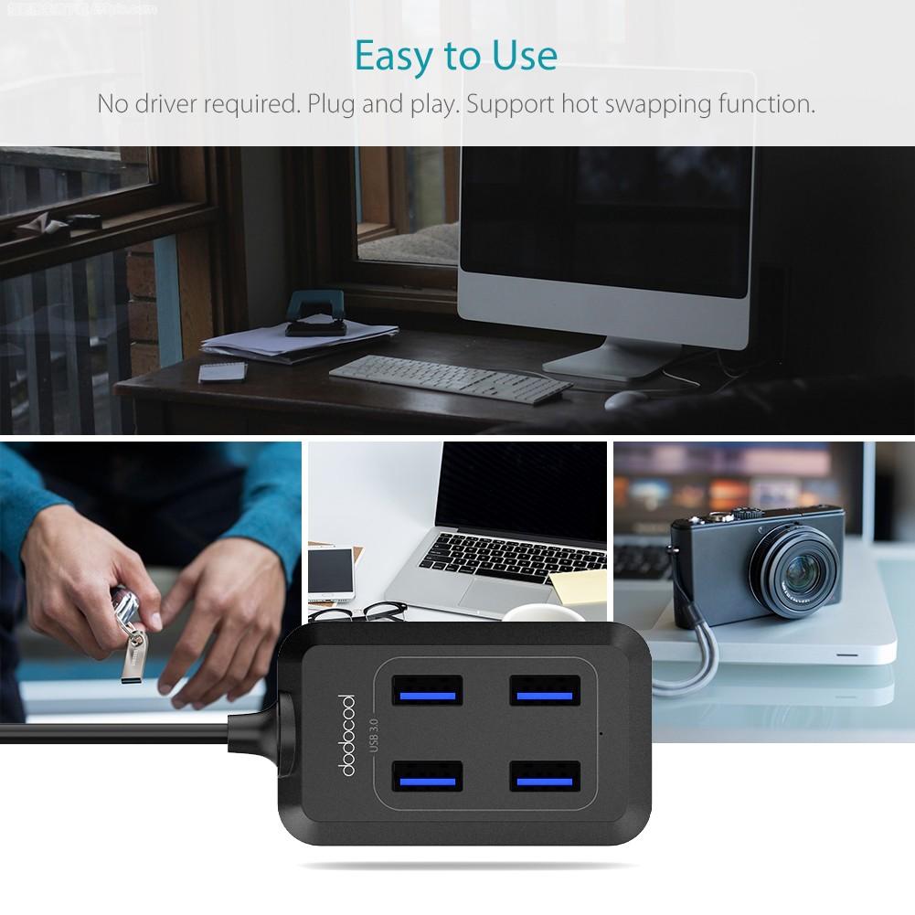 dodocool Mini Portable 4-Port SuperSpeed USB 3.0 Hub with ...