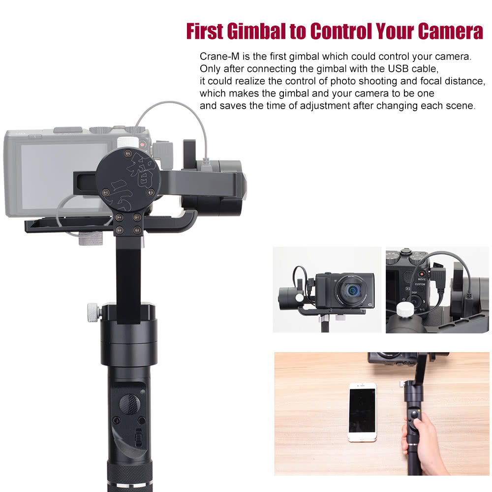 Zhiyun Crane M Paraprofessional 3 Axis Brushless Handheld Gimbal Tripod Pole For 3axis Smooth Q Stabilizer