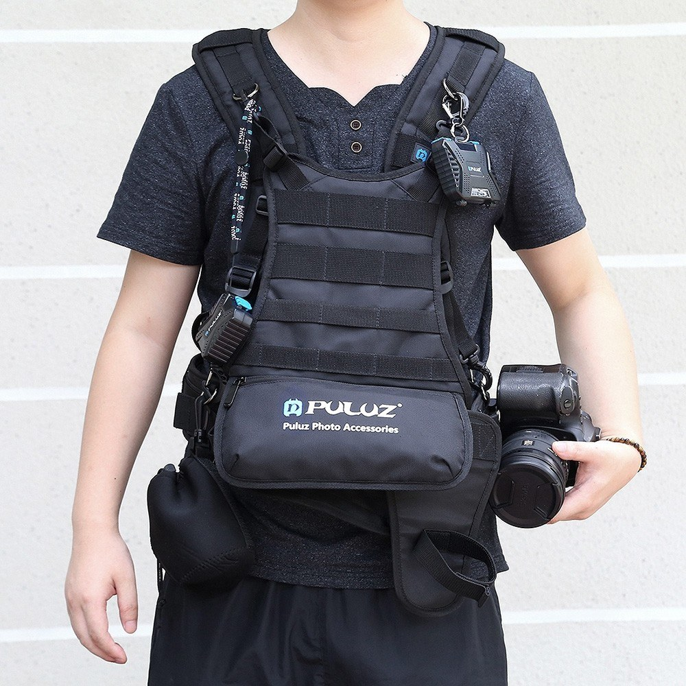 PULUZ Multi-functional Double Shoulder Camera Strap Camera Harness Belt Photo Accessories for SLR/DSLR Cameras