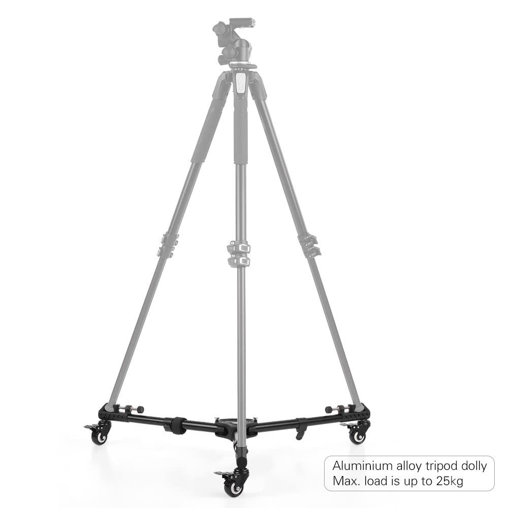 universal foldable photography heavy duty tripod dolly base stand flexible wheels adjustable