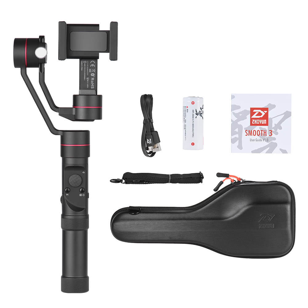 Zhiyun Smooth 3 Axis Brushless Smartphone Handheld Gimbal Tripod Pole For Crane 3axis M Q Stabilizer Sales Online Black Tomtop