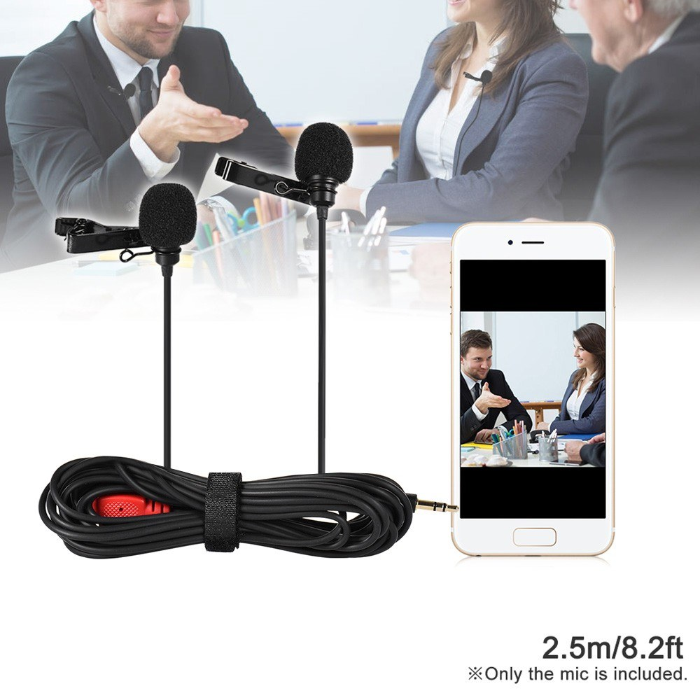 Dual-head Lapel Clip-on Microphone Mic