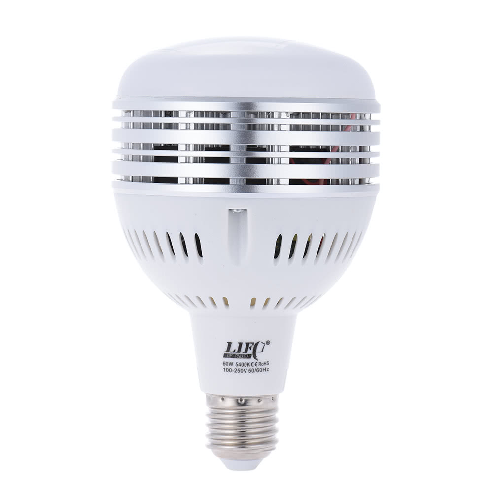 60W LED Daylight Balanced E27 5400K Light Bulb Studio Modeling Lamp for  Photography Video Lighting 100~250V