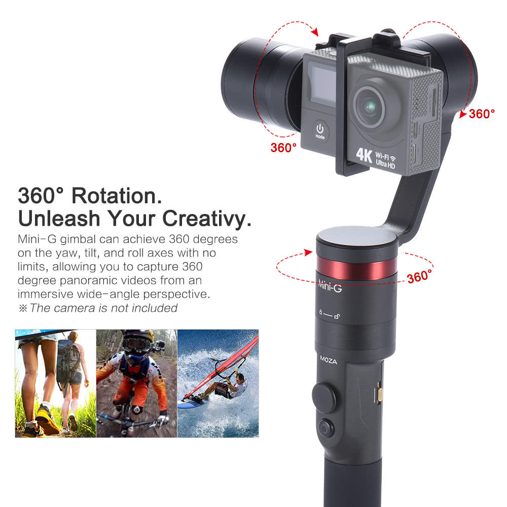Moza Mini G 3 Axis Handheld Wearable Gimbal Stabilizer Multiple Basic Camera Controls Unleashed Modes Support For Bt App Control Gopro Hero5 4 Yi 4k Action Sports