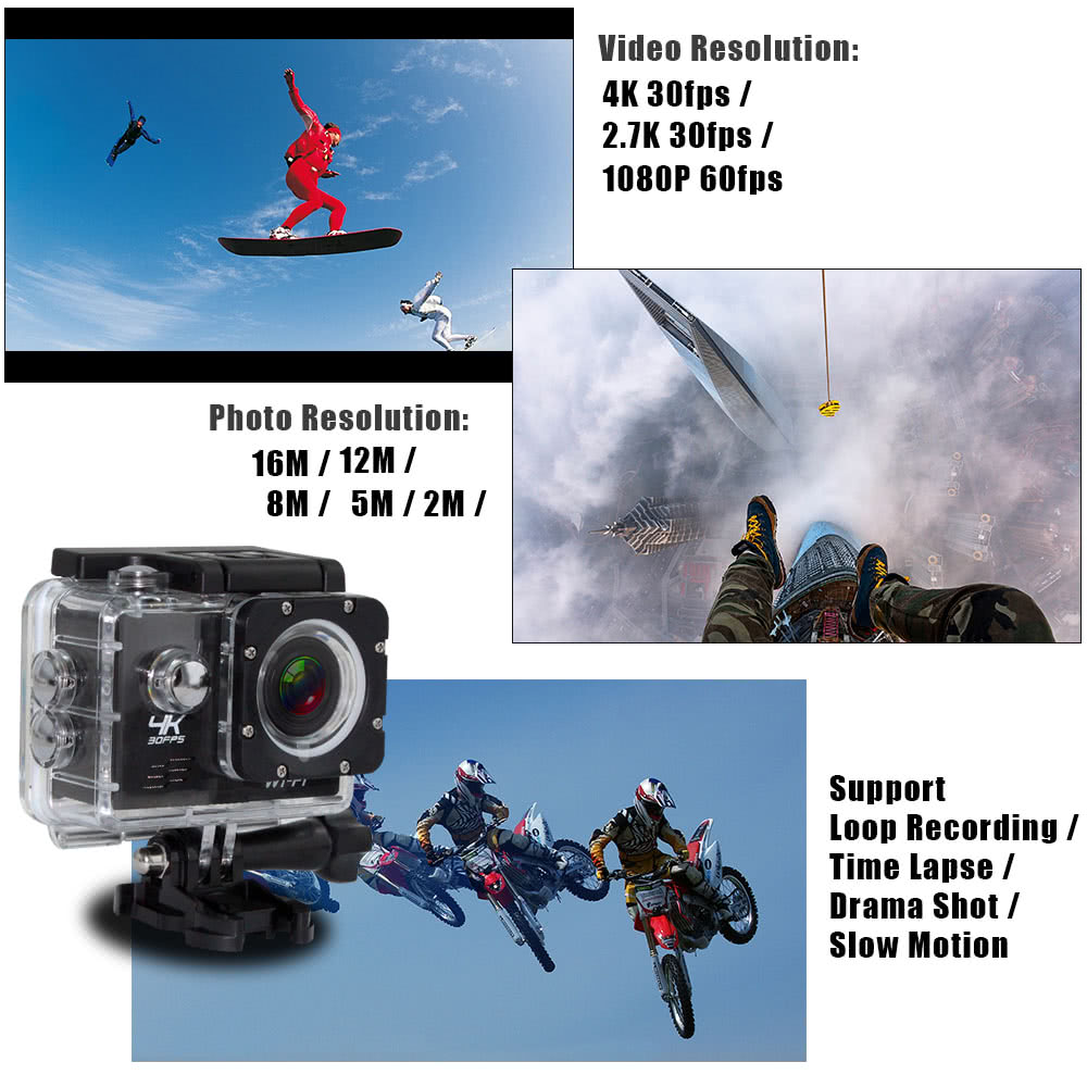 V3 Wifi 4K 30fps 1080P 60fps 16MP Sports Action Camera