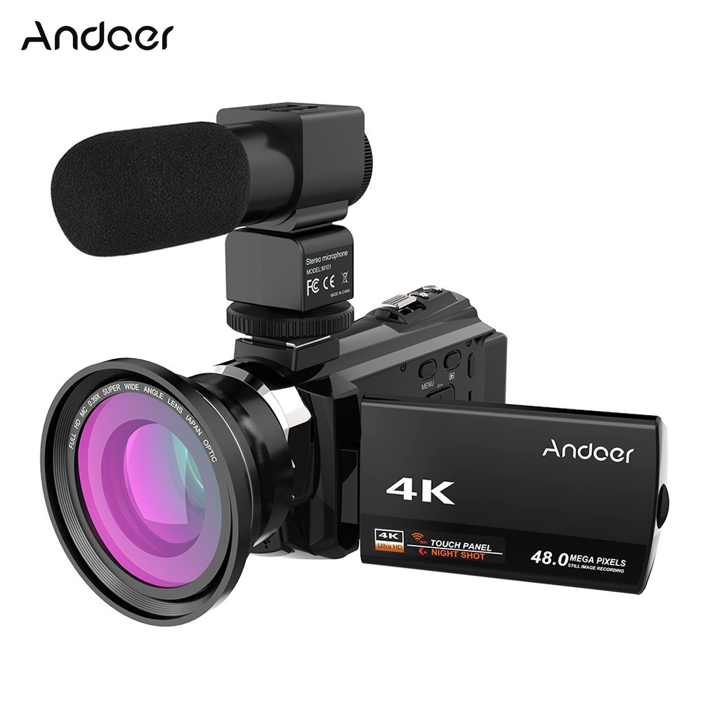 andoer 4k 1080p 48mp wifi digital video camera sales online black tomtop. Black Bedroom Furniture Sets. Home Design Ideas