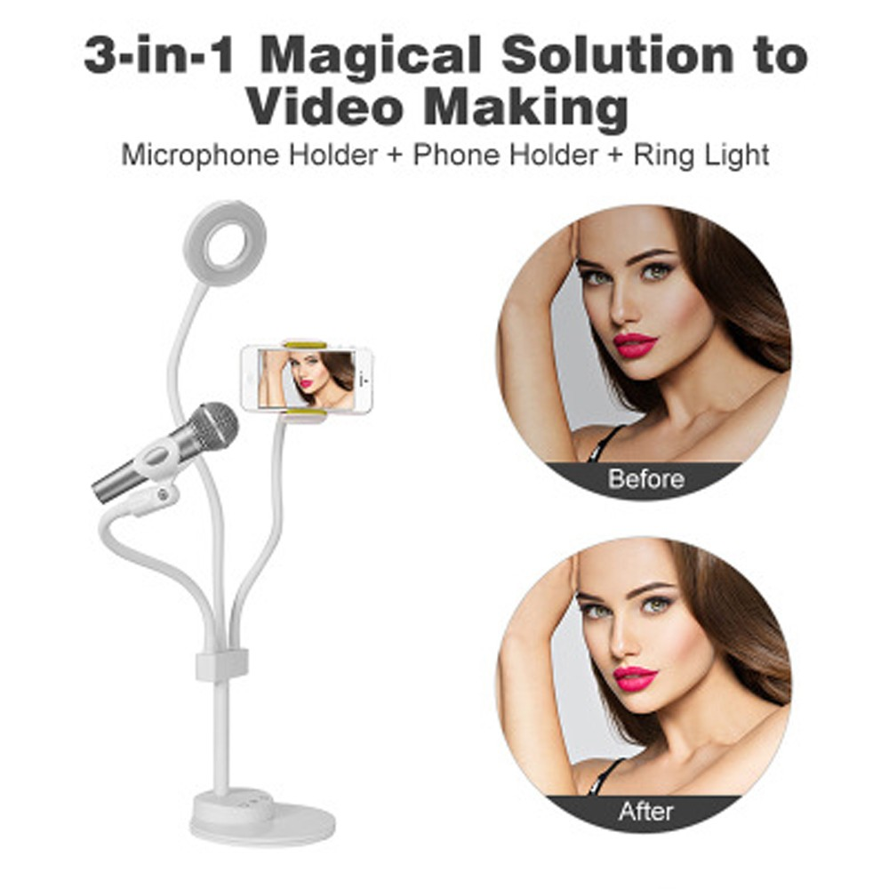 3 in 1 Lazy Bracket Phone Stand with Microphone Holder Flexible Cellphone Clip