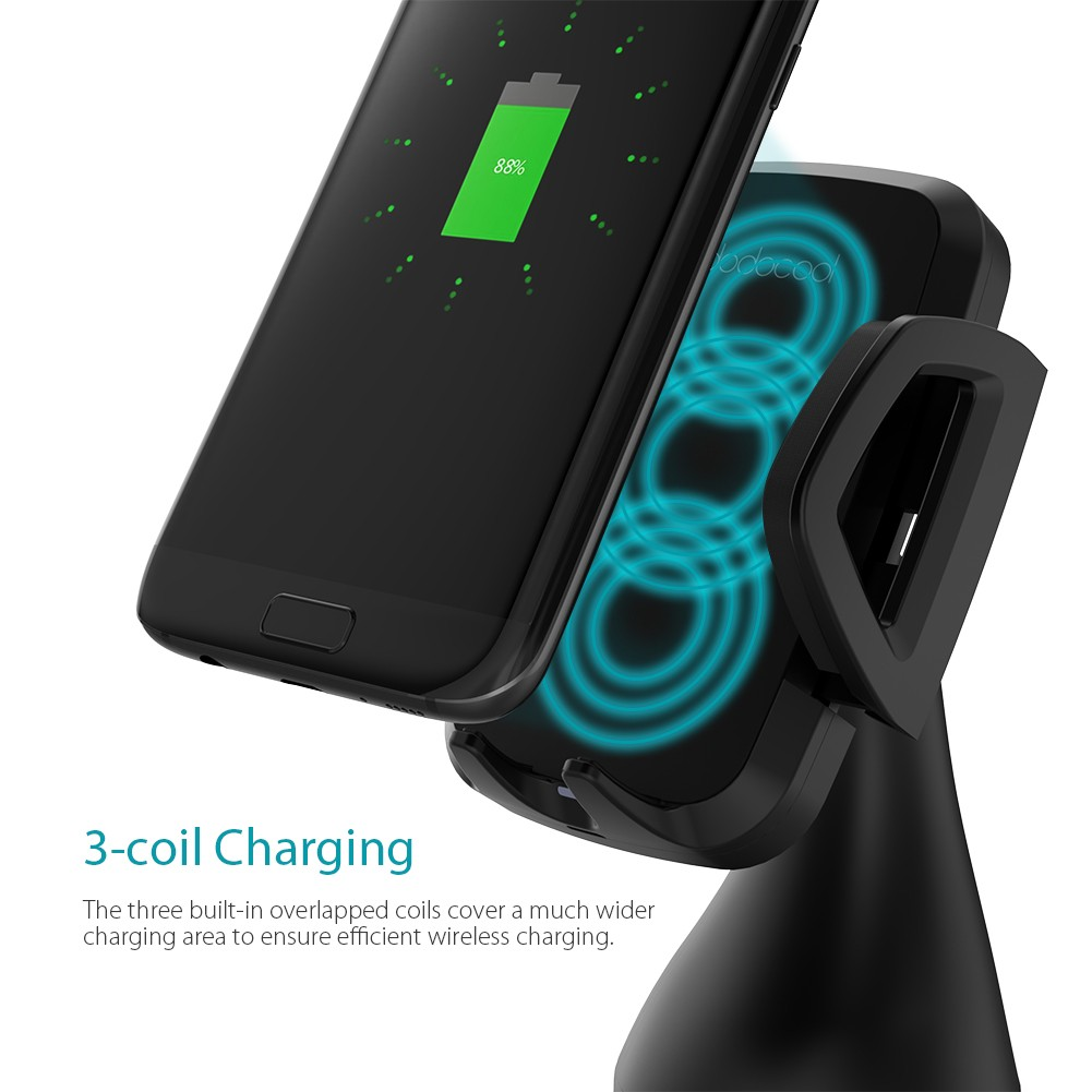 dodocool 10w 3 coil fast wireless car charger for iphone x. Black Bedroom Furniture Sets. Home Design Ideas