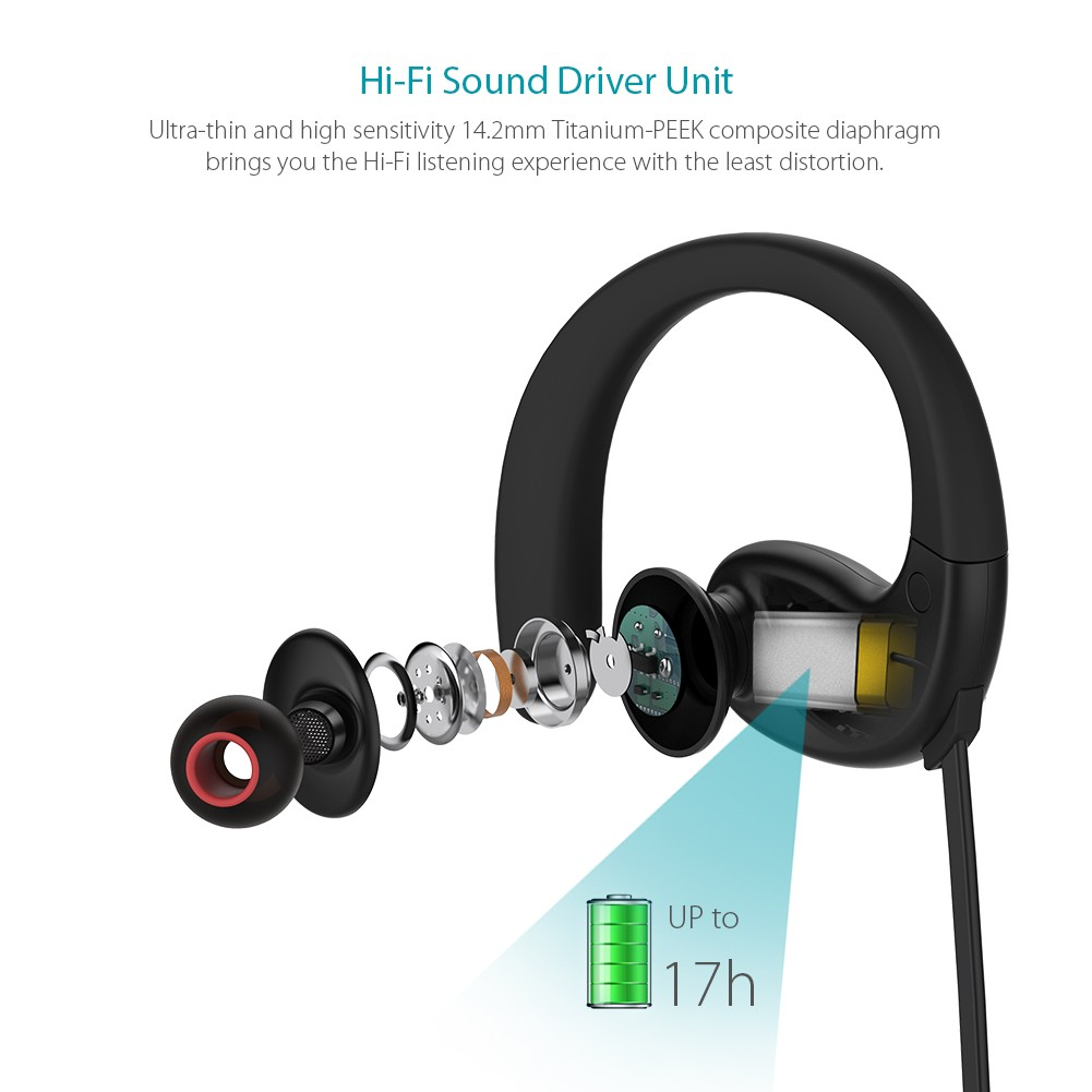 dodocool Wireless Stereo Sports In-Ear Headphone – IPX5 Splash-proof / In-line Remote HD Mic / CVC 6.0 Noise Cancellation / Multipoint Connection / 17 Hours Playtime