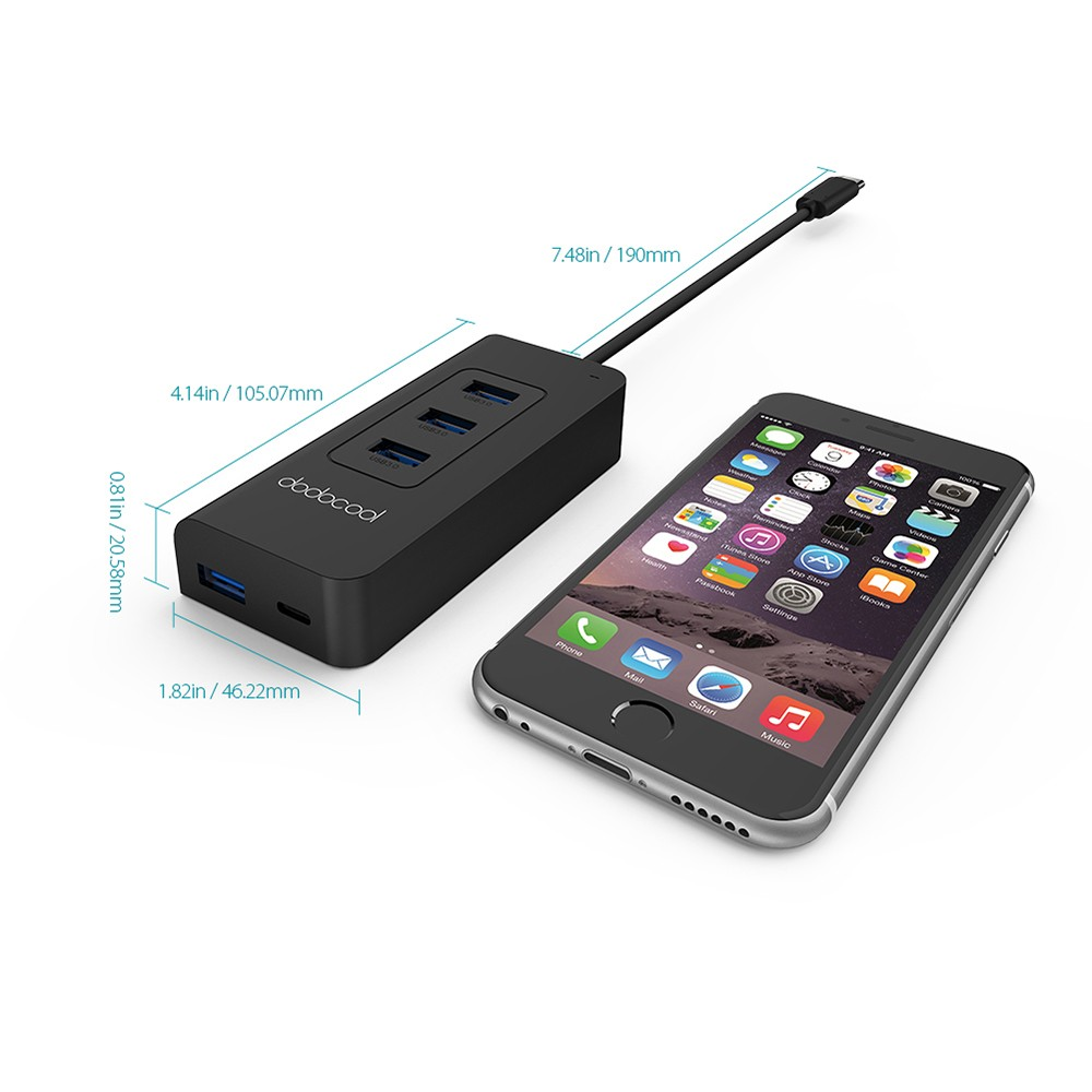 dodocool USB-C to SuperSpeed 4-Port USB 3.0 Hub with USB ...