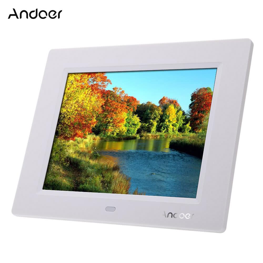 Mejor Marco de Fotos Digital Andoer 8\'\' TFT-LCD de HD blanco enchufe ...