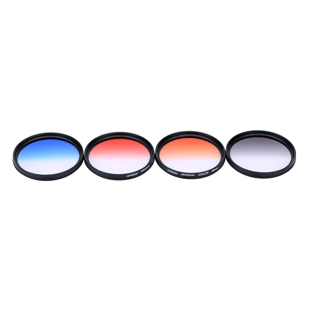 Andoer Professional 58mm GND Graduated Filter Set GND406 Gray Blue Orange Red Neutral Density For Canon Nikon DSLR Camera Lens