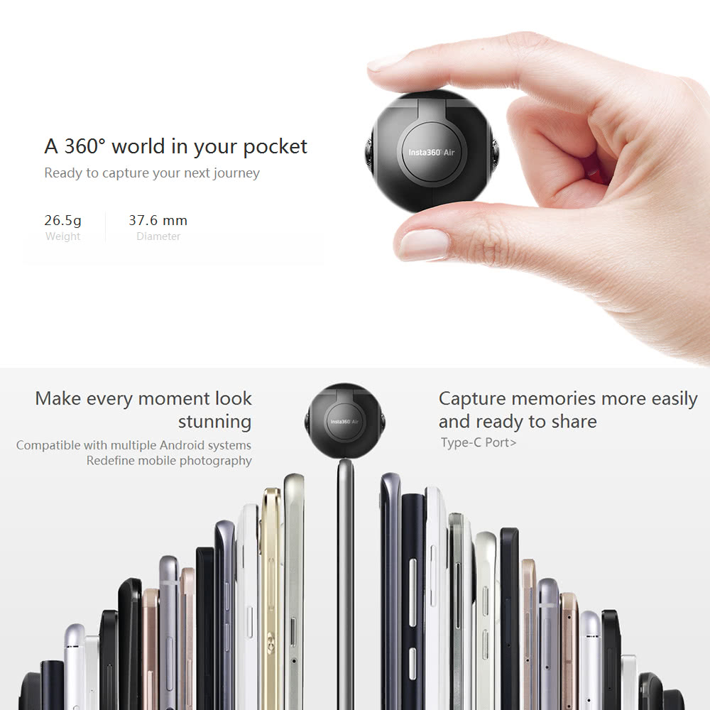 Insta360 Air Compact Mini Panoramic 360 Degree 3K HD Camera Dual Wide Angle  Fish Eye Lens VR Mode for OPPO R9/Huawei P9 Mate9/LG V20 Andriod