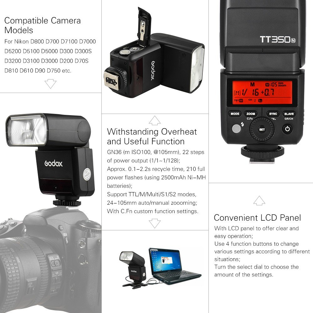 Godox Thinklite TT350N Mini 2 4G Wireless TTL Camera Flash Master & Slave  Speedlite
