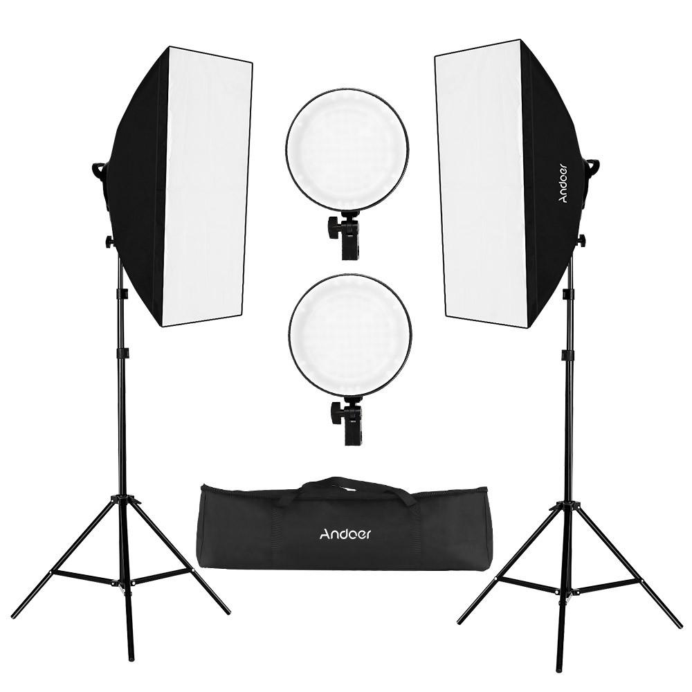 Tomtop - [EU Warehouse]47% OFF Andoer Studio Photography Softbox LED Light Kit,  $73.99+