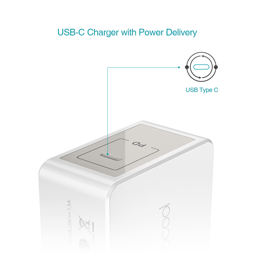 Dodocool 30w Usb Type C Wall Charger Power Adapter With Apple Cord Wire Diagram Delivery Foldable Us Plug 33 Feet Charging Cable For New Macbook Pd