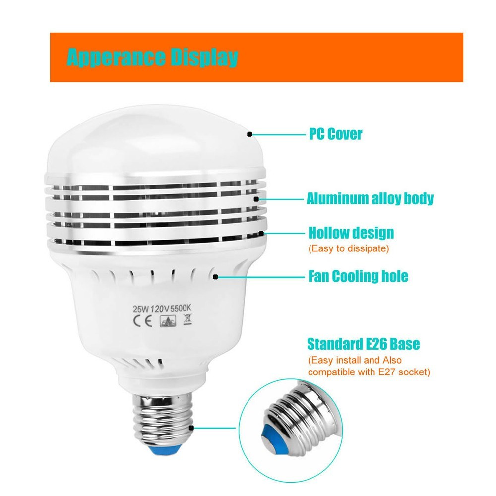 25W 120V LED Light Bulb E26/E27 Photography Daylight Lamp Bulbs 5500K Energy-saving for Photography Studio Home Warehouse Office Hotel