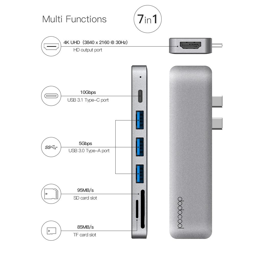 Dodocool Aluminum Alloy 7 In 1 Multiport Hub For Macbook Pro 133 Usb Type C To Hdmi Adapter 30 Inch 154 Sales Online Tomtop