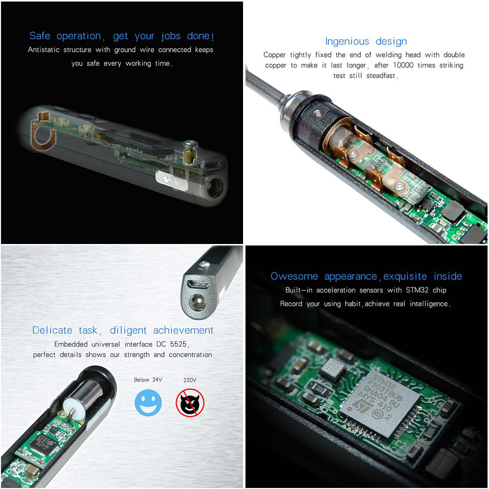 Pen-type Mini Programmable Smart Electric Soldering Iron Digital OLED  Adjustable Temperature 100-400°C STM32 MCU Welding Tool Sales Online e1290  -