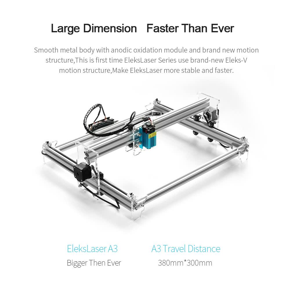 EleksMaker Brand New EleksLaser A3 Pro 500mw Desktop USB Laser Engraving  Carving Machine Engraver Carver DIY Laser Printer with Protective Glasses