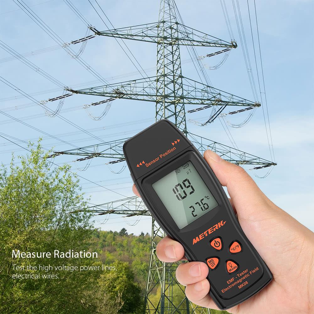 Meterk MK08 EMF Meter Handheld Mini Digital LCD EMF Detector