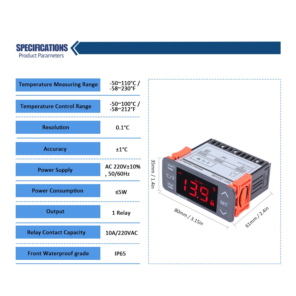 Ac220v Digital Led Temperature Controller Touch Keys C F Heating English Electric Relay Manuals 1 User Manualenglish