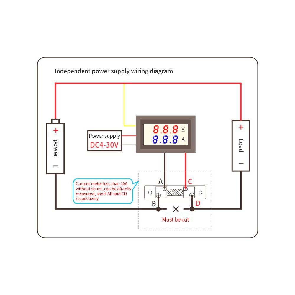 led dc0~100v 10a digital voltmeter ammeter red/blue dual color display  voltage and ampere meter volt amp gauge panel