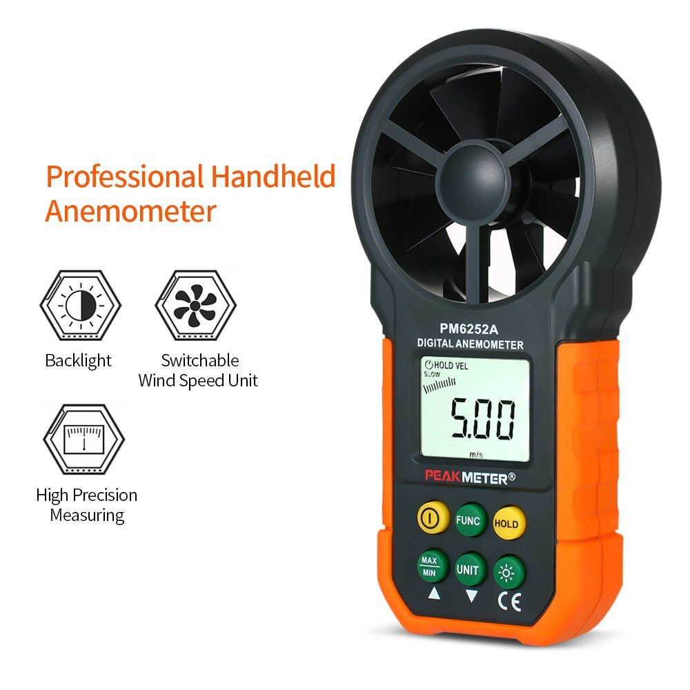 PEAKMETER Handheld Anemometer Portable Wind Speed Meter CFM Meter Wind  Gauges Air Flow Thermometer with LCD Backlight for Weather Data Collection