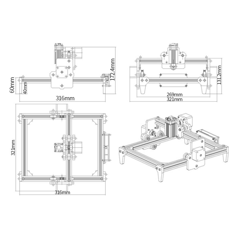 1600mW LG-L5S DIY Laser Engraver Kits Wood Carving Engraving Cutting  Machine Desktop Printer Logo Picture Marking Machines UK Plug Sales Online  #1 -