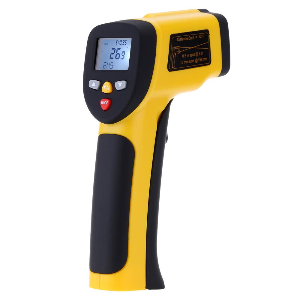 Portable Non-contact Digital Dual Laser Infrared Thermometer IR High Temperature Gun Tester Pyrometer Back light LCD Display -50u2103-850u2103(-58u2109-1562u2109) Adjustable Emissivity 12:1
