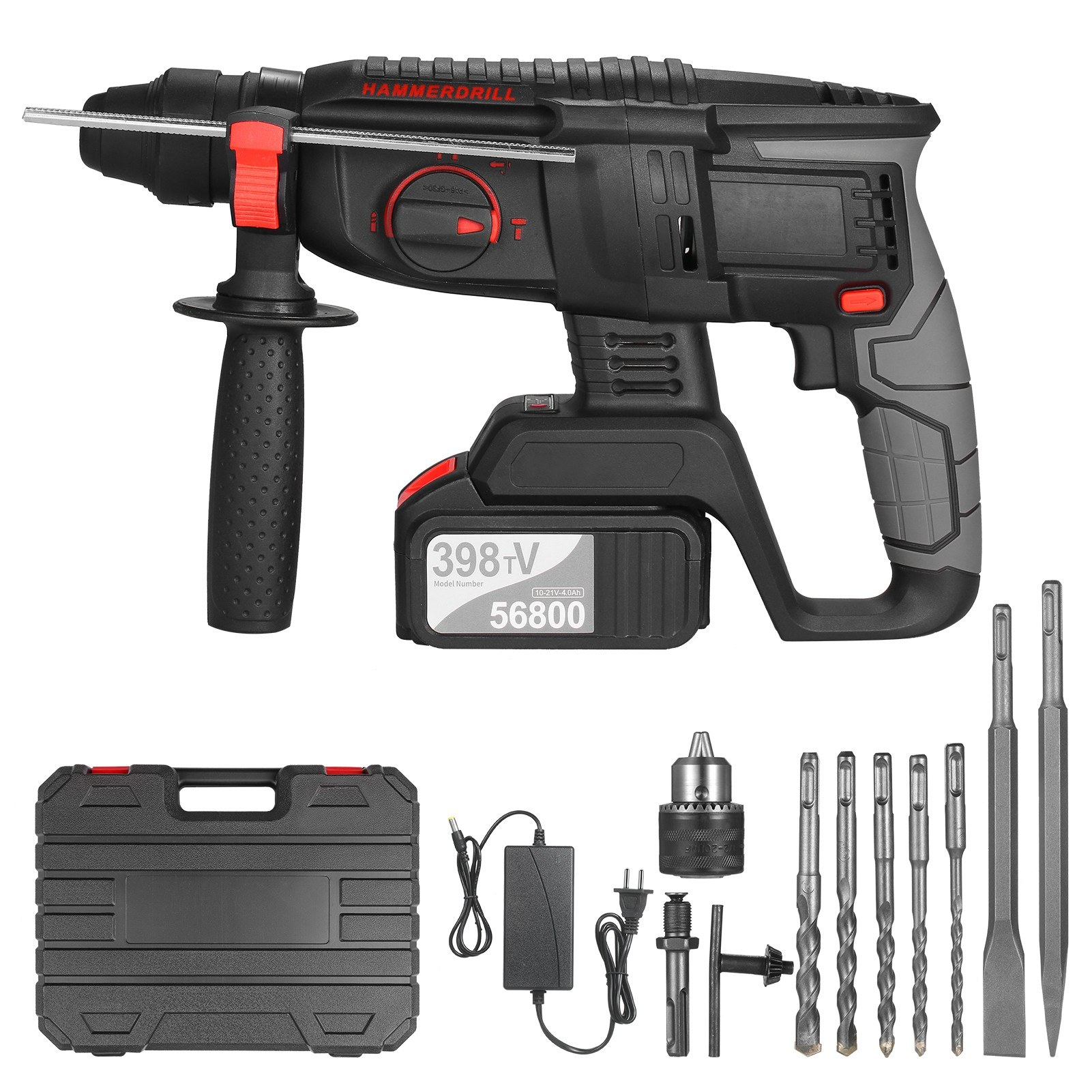 Tomtop - 41% OFF 21V Brushless Heavy Duty 4 Function Rotary Hammer Drill, Free Shipping $134.99
