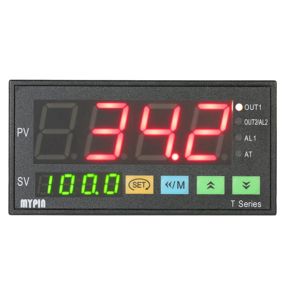 mypin multi-functional intelligent temperature controller dual 4 digital  led display ℃/℉ thermostat pid heating cooling control tc/rtd input ssr  output 1
