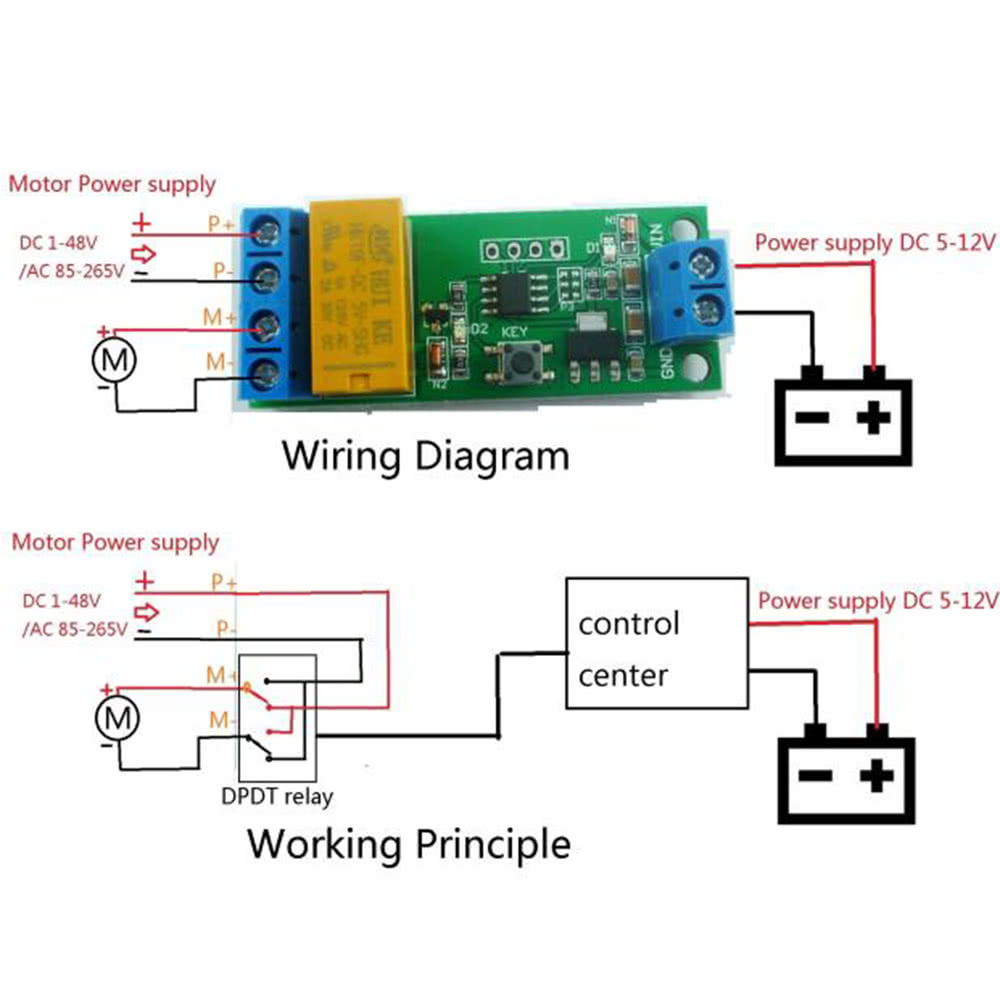 12v Dpdt Relay Wiring 5v 6v 9v Motor Reversible Controller Delay Module Time Adjustable Anti Polarity Sales Online Tomtop
