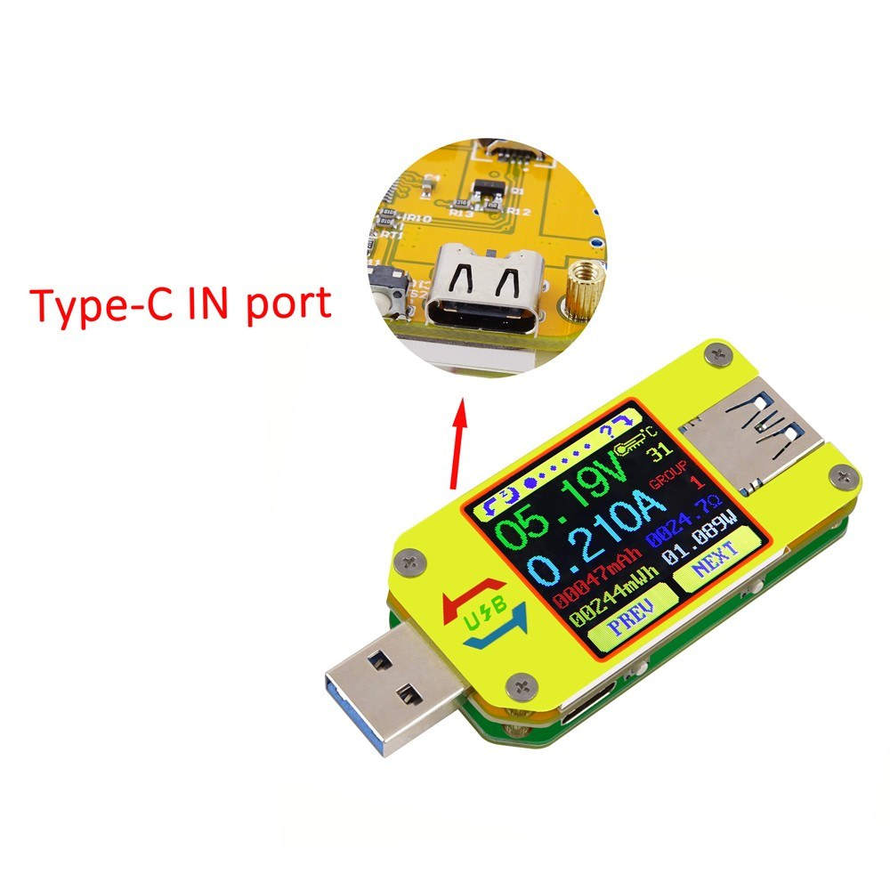 Rd Um34 Usb 30 Type C Color Lcd Display Tester Voltage Current And Meter Voltmeter Ammeter Battery Charge Cable Impedance Resistance Measurement Communication