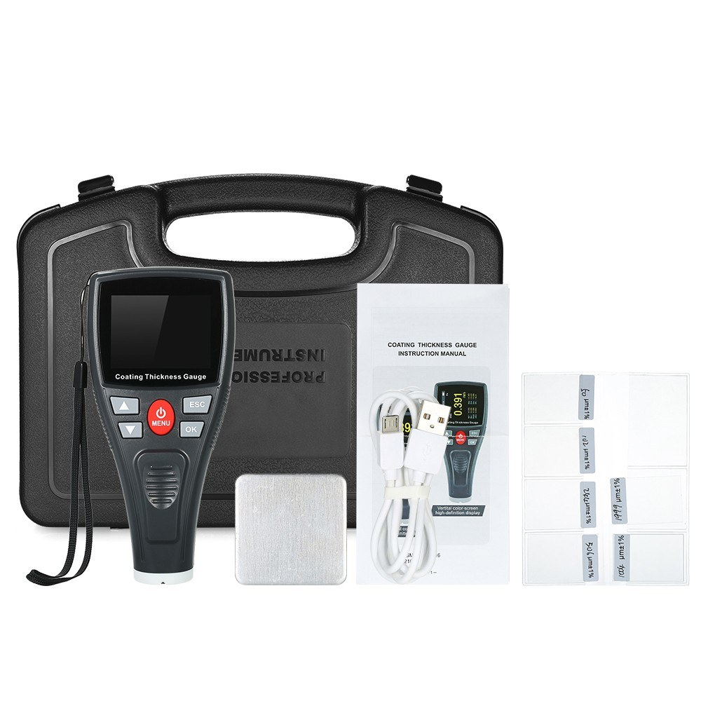 Digital Paint Coating Thickness Gauge Handheld Coatings Thickness Tester  with Color LCD Fe Probe Car Detector Automotive Coating Refinishing Cars
