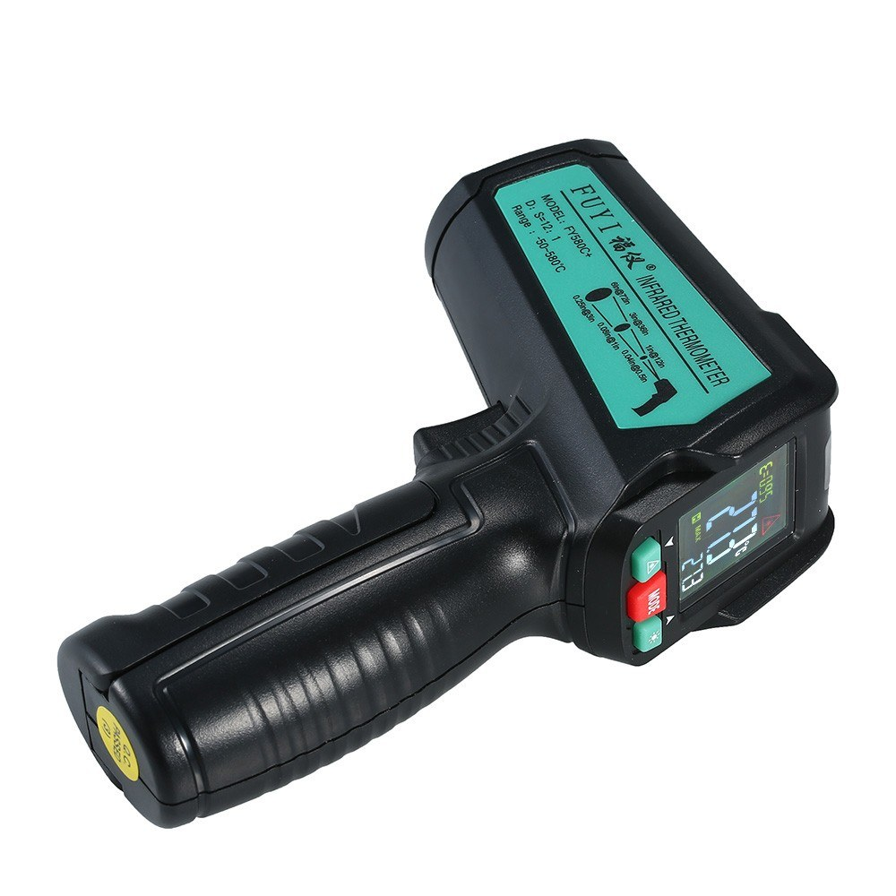 FUYI FY580C+ Non-contact IR Infrared Thermometer Digital Handheld Temperature Tester 12:1 Pyrometer Color LCD Display Backlight Centigrade Fahrenheit -50uff5e580u2103(-58uff5e1076u2109)